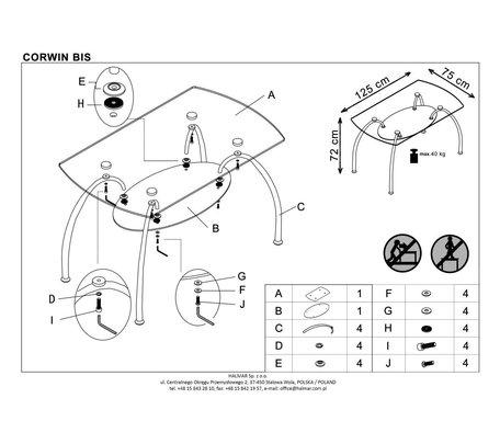 Стол обеденный Halmar CORWIN BIS (прозрачный)
